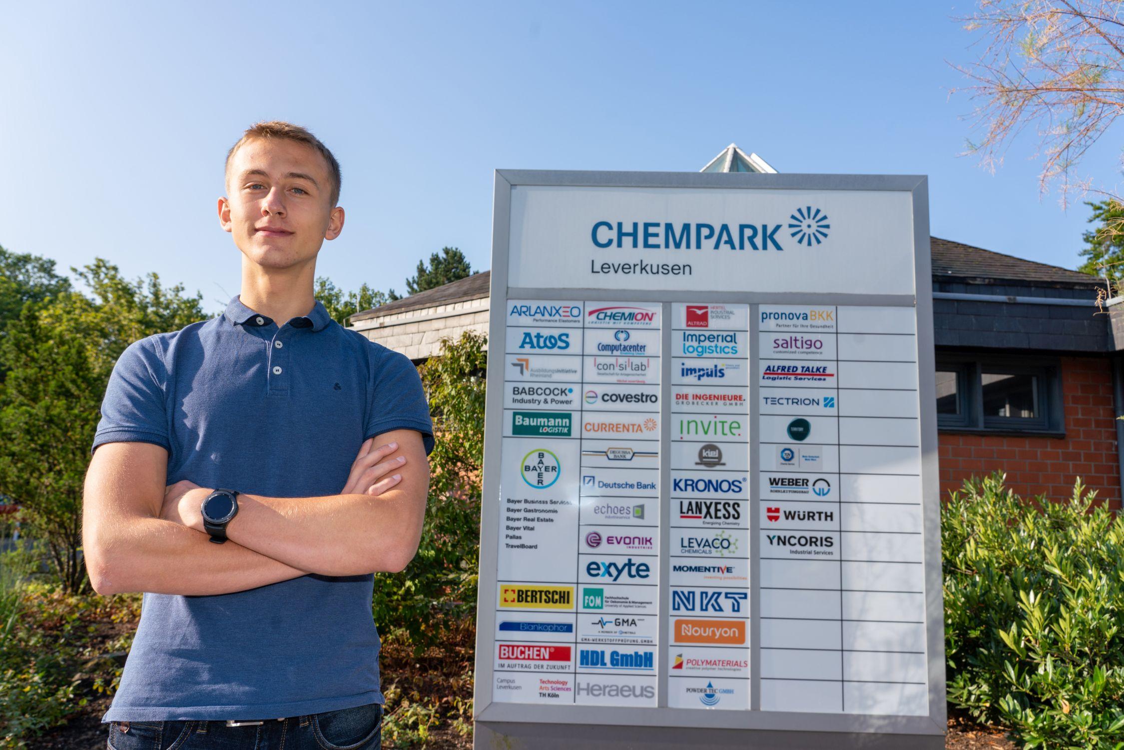 Schüler Erik John ist am14.08.2019 Chemparkleiter in Leverkusen